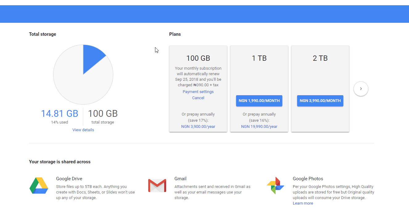 Google Drive Upgrade Nigeria