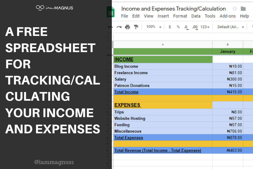 A Free Spreadsheet for Tracking/Calculating your Income and Expenses